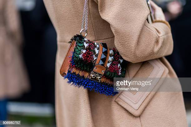 A Valentino bag outside Chanel during the Paris Fashion Week Haute Couture Spring/Summer 2016 on January 26 2016 in Paris France