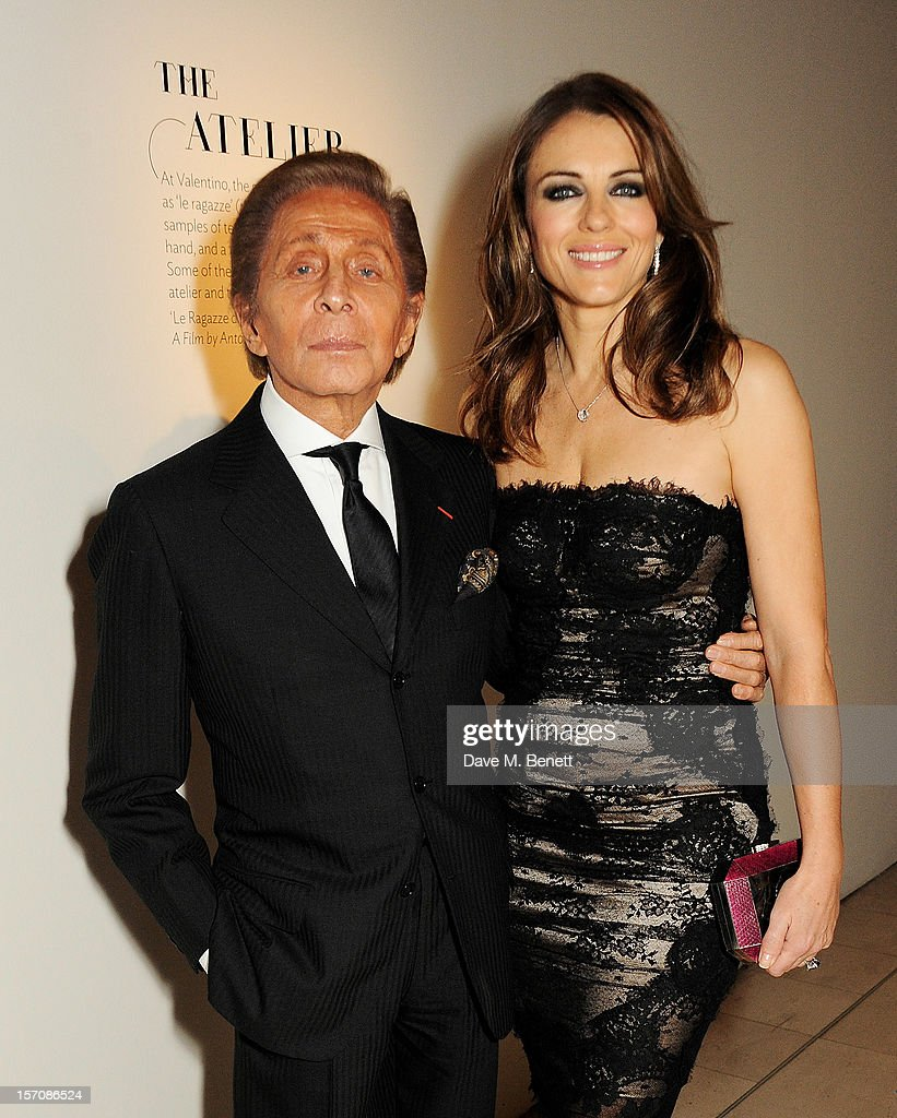 Valentino Garavani (L) and Elizabeth Hurley attend a private view of 'Valentino: Master Of Couture', exhibiting from November 29th, 2012 - March 3, 2013, at Somerset House on November 28, 2012 in London, England.