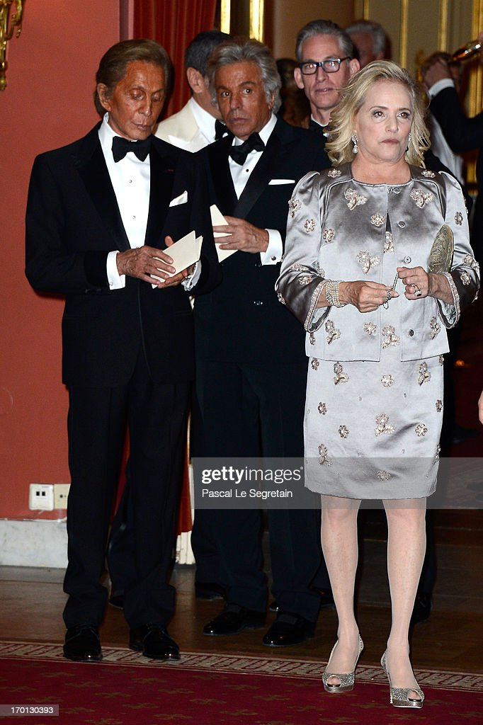 Valentino Garavani (L) and Giancarlo Giametti (C) attend a private dinner on the eve of the wedding of Princess Madeleine and Christopher O'Neill hosted by King Carl XVI Gustaf and Queen Silvia at The Grand Hotel on June 7, 2013 in Stockholm, Sweden.