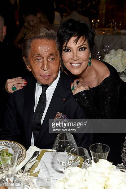Valentino Garavani and Kris Jenner attend The New York Ball The 20th Anniversary Benefit For The European School Of Economics at Trump Tower on...