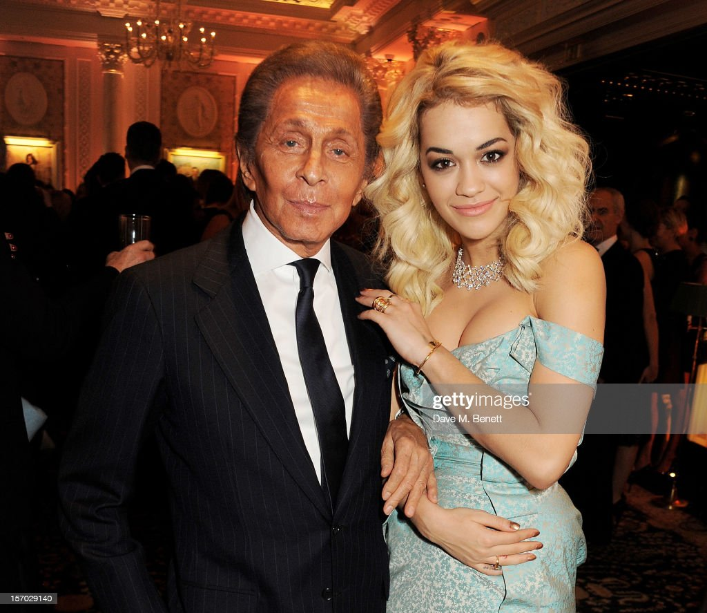 Valentino Garavani (L) and <a gi-track='captionPersonalityLinkClicked' href=/galleries/search?phrase=Rita+Ora&family=editorial&specificpeople=5686485 ng-click='$event.stopPropagation()'>Rita Ora</a> attend a drinks reception at the British Fashion Awards 2012 at The Savoy Hotel on November 27, 2012 in London, England.