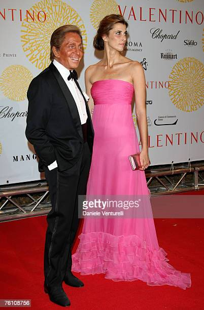 Valentino Garavani and Rosario Nadal arrives for the 'Valentino 45th Anniversary Celebration' Gala held at the Villa Borghese in the Parco dei Daini...