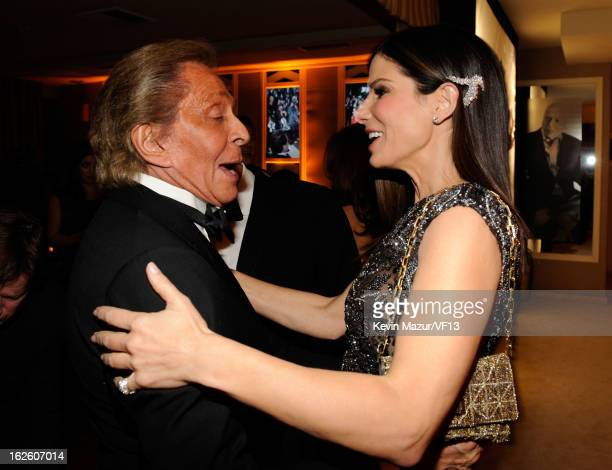 Valentino Garavani and Sandra Bullock attend the 2013 Vanity Fair Oscar Party hosted by Graydon Carter at Sunset Tower on February 24 2013 in West...