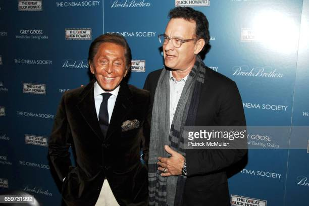 Valentino Garavani and Tom Hanks attend THE CINEMA SOCIETY BROOKS BROTHERS host a screening of 'THE GREAT BUCK HOWARD' at Tribeca Grand Hotel on...