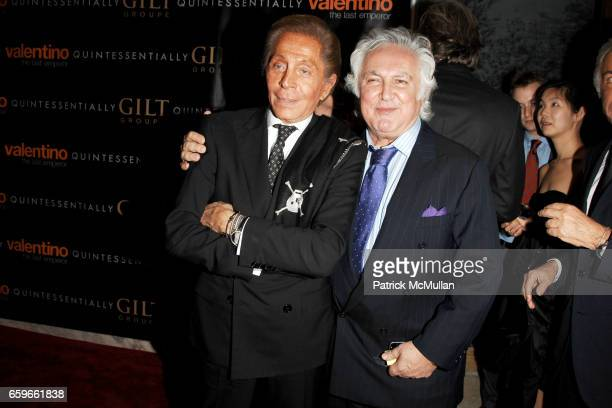Valentino Garavani and Tony Shafrazi attend GILT GROUPE and QUINTESSENTIALLY Private Dinner for the Premiere of 'VALENTINO The Last Emperor' at The...