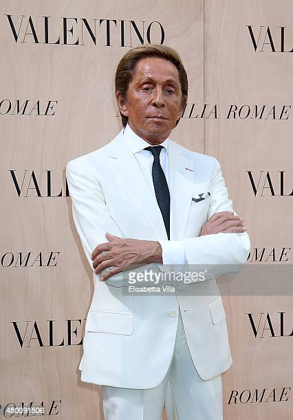 Valentino Garavani attends the Valentinos 'Mirabilia Romae' haute couture collection fall/winter 2015 2016 at Piazza Mignanelli on July 9 2015 in...