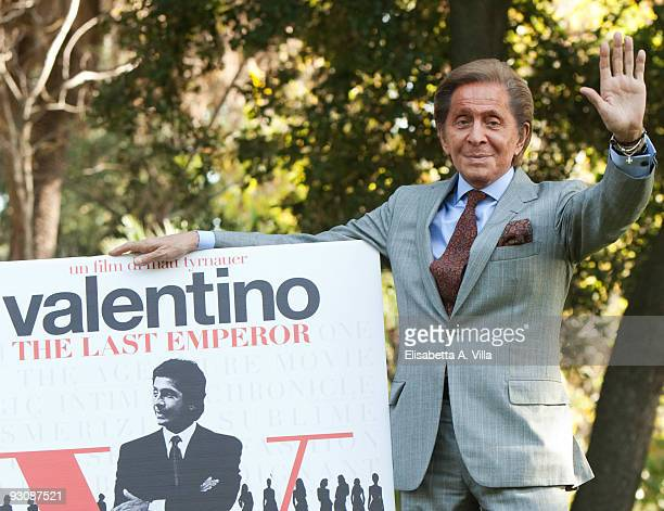 Valentino Garavani attends 'Valentino The Last Emperor' photocall at the Casina Valadier on November 16 2009 in Rome Italy