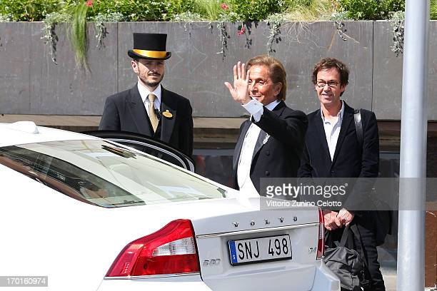 Valentino Garavani departs The Grand Hotel to attend the wedding of Princess Madeleine of Sweden and Christopher O'Neill hosted by King Carl Gustaf...