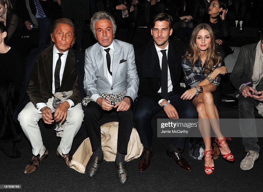Valentino Garavani, Giancarlo Giammetti, Olivia Palermo and Johannes Huebl attend the 2013 Victoria's Secret Fashion Show at Lexington Avenue Armory on November 13, 2013 in New York City.