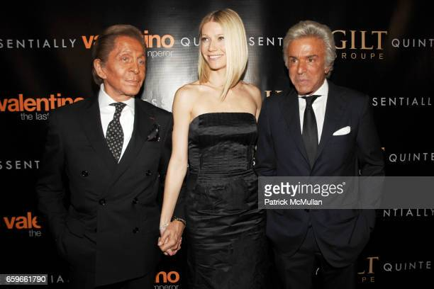 Valentino Garavani Gwyneth Paltrow and Giancario Giammetti attend GILT GROUPE and QUINTESSENTIALLY host the Premiere of 'VALENTINO The Last Emperor'...