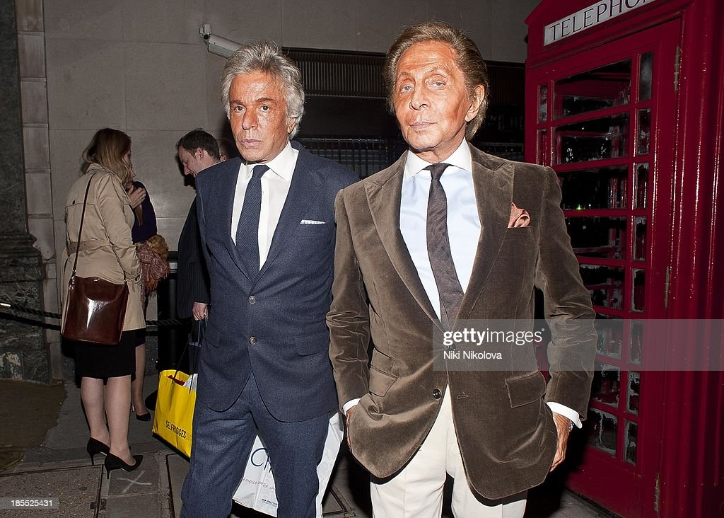 Valentino is sighted leaving the Westbury Hotel, Mayfair on October 21, 2013 in London, England.