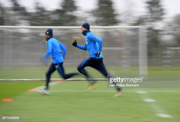Valentino Lazaro and Davie Selke of Hertha BSC during the training on november 22 2017 in Berlin Germany