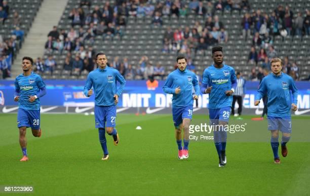 Valentino Lazaro Davie Selke Mathew Leckie Jordan Torunarigha and Alexander Esswein of Hertha BSC before the game between Hertha BSC and Schalke 04...