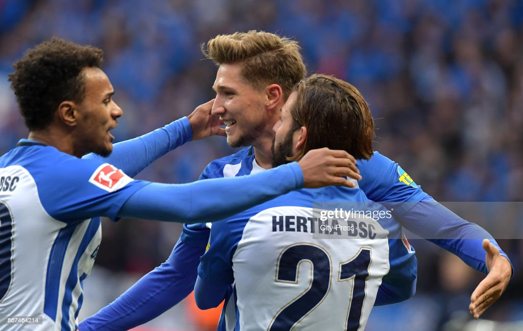 Valentino Lazaro, Niklas Stark and Marvin Plattenhardt of Hertha BSC celebrate after scoring the 1:0 during the game between Hertha BSC and Hamburger SV on October 28, 2017 in Berlin, Germany.
