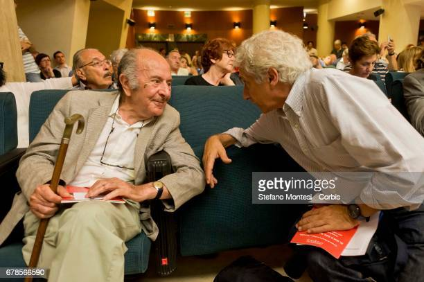 Valentino Parlato and Corradino Mineo during the convention 'Social Coalition' on June 7 2015 in Rome Italy