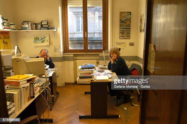 Valentino Parlato and Luciana Castellina at work at the daily newspaper The Manifesto in Via Tomacelli on February 4 2005 in Rome Italy