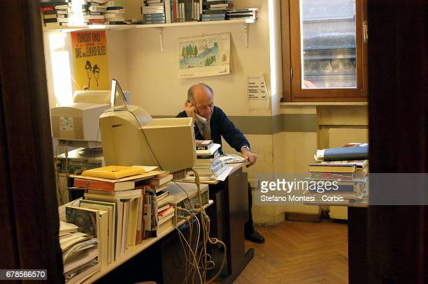 Valentino Parlato at work at the daily newspaper The Manifesto in Via Tomacelli on February 4 2005 in Rome Italy
