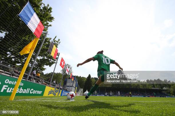 Valentino Pugliese of FC StGallen takes a corner during the match between RSC Anderlecht and FC StGallen on day one of the Blue Stars/FIFA Youth Cup...