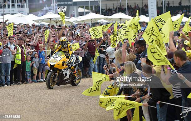 Valentino Rossi enters Goodwood House grounds during the Festival of Speed on June 28 2015 in Chichester England