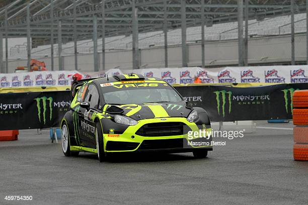 Valentino Rossi of Italy and Carlo Cassina of Italy compete in their Ford Fiesta RS WRC during Day Three of the Rally di Monza on November 30 2014 in...