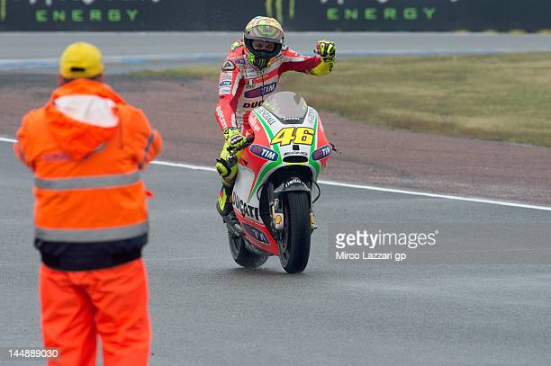 Valentino Rossi of Italy and Ducati Marlboro Team celebrates after finishing in second place at the end of the French MotoGP race on May 20 2012 in...