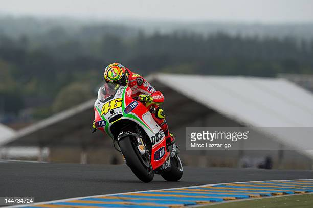 Valentino Rossi of Italy and Ducati Marlboro Team heads down a straight during the free practice of MotoGp Of France on May 18 2012 in Le Mans France