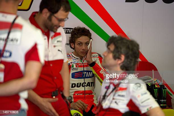 Valentino Rossi of Italy and Ducati Marlboro Team is seen in box during the MotoGp Tests In Catalunya at Circuit de Catalunya on June 4 2012 in...