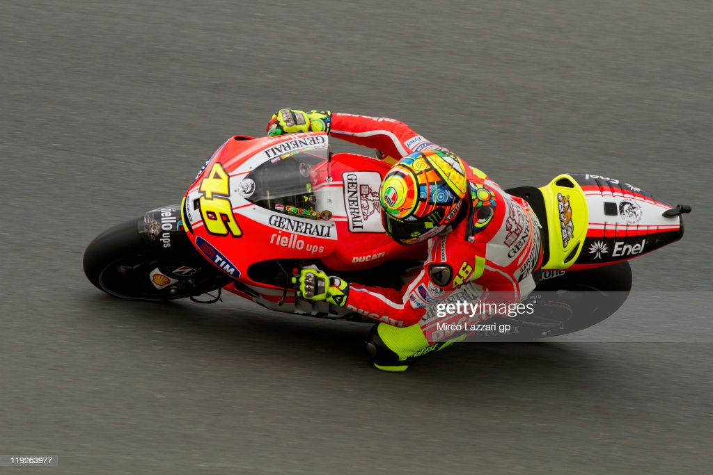 Valentino Rossi of Italy and Ducati Marlboro Team rounds the bend during the free practice of MotoGP of Germany at Sachsenring Circuit on July 15...