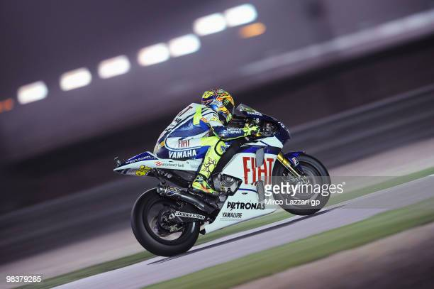 Valentino Rossi of Italy and Fiat Yamaha Team during the second day of testing ahead of the Qatar Grand Prix at Losail Circuit on April 10 2010 in...