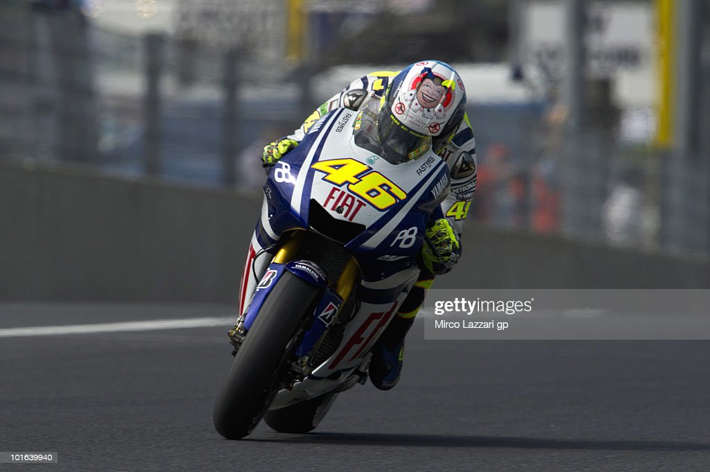 Valentino Rossi of Italy and Fiat Yamaha Team heads down a straight during the second free practice of the Grand Prix of Italy on June 5, 2010 in Mugello Circuit near Florence, Italy.