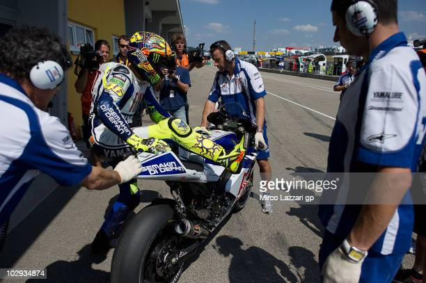 Valentino Rossi of Italy and Fiat Yamaha Team prepares to start from box during the first free practice of Grand Prix of Germany at Sachsenring...