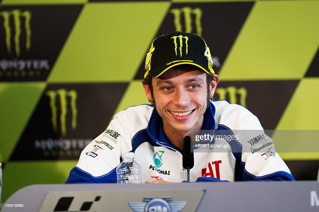 Valentino Rossi of Italy and Fiat Yamaha Team smiles during the press conference pre event of Grand Prix of France in Le Mans Circuit on May 20, 2010 in Le Mans, France.