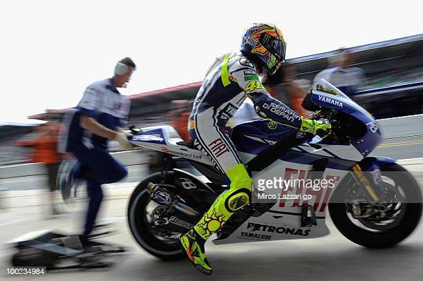 Valentino Rossi of Italy and Fiat Yamaha Team starts from box during the qualifying practice session of the MotoGP French Grand Prix in Le Mans...