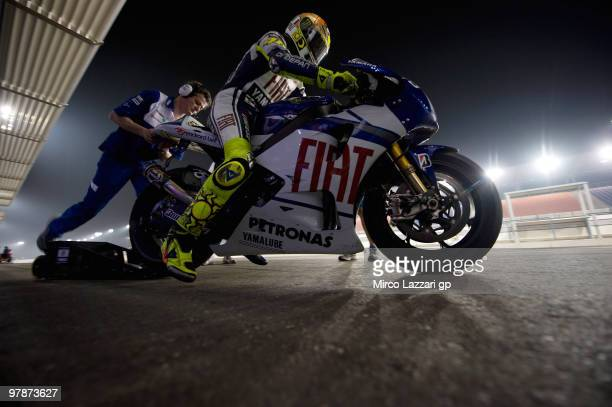 Valentino Rossi of Italy and Fiat Yamaha Team starts from box during the third day of testing at Losail Circuit on March 19 2010 in Doha Qatar