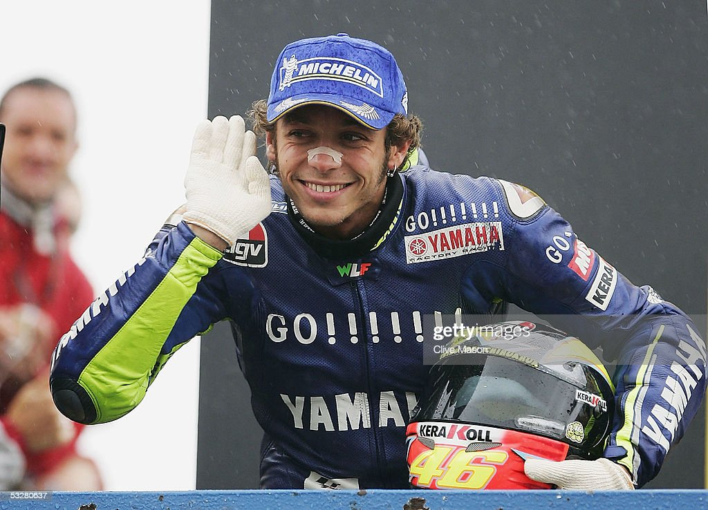 Valentino Rossi of Italy and Gauloises Yamaha Team celebrates victory in the British Moto GP at Donington Park on July 24 in Donington England