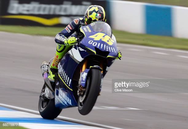 Valentino Rossi of Italy and Gauloises Yamaha Team in action during third free practice for the British Moto GP at Donington Park on July 23 in...