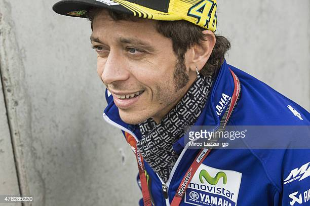 Valentino Rossi of Italy and Movistar Yamaha MotoGP arrives at the press conference preevent during the MotoGP Netherlands Preview at on June 24 2015...