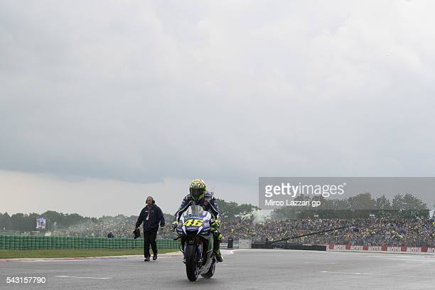 Valentino Rossi of Italy and Movistar Yamaha MotoGP arrives on the grid during the MotoGP race during the MotoGP Netherlands Race at on June 26 2016...