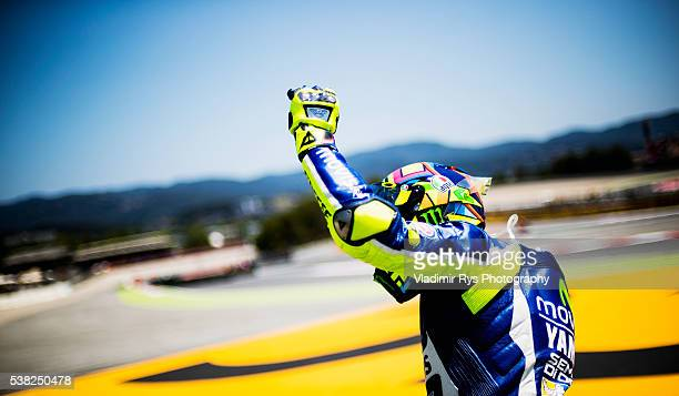 Valentino Rossi of Italy and Movistar Yamaha MotoGP celebrates after winning the MotoGP of Catalunya at Circuit de Barcelona on June 05 2016 in...