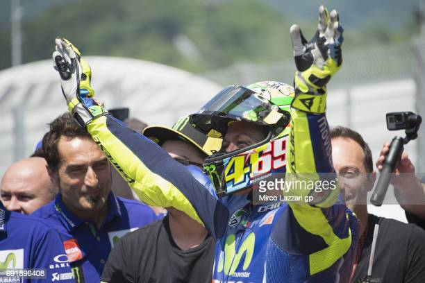 Valentino Rossi of Italy and Movistar Yamaha MotoGP celebrates during the MotoGp of Italy Qualifying at Mugello Circuit on June 3 2017 in Scarperia...
