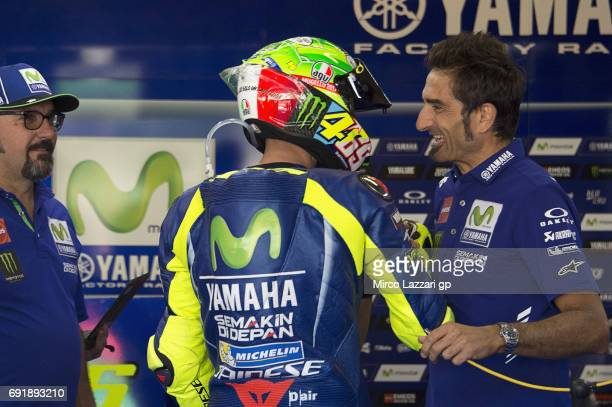 Valentino Rossi of Italy and Movistar Yamaha MotoGP celebrates in box during the MotoGp of Italy Qualifying at Mugello Circuit on June 3 2017 in...