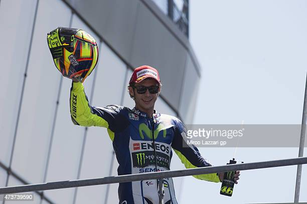 Valentino Rossi of Italy and Movistar Yamaha MotoGP celebrates on the podium the second place at the end of the MotoGP race during the MotoGp of...