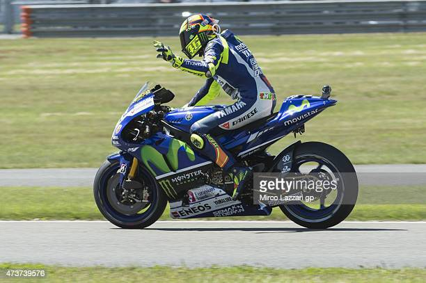 Valentino Rossi of Italy and Movistar Yamaha MotoGP celebrates the second place at the end of the MotoGP race during the MotoGp of France Race at on...
