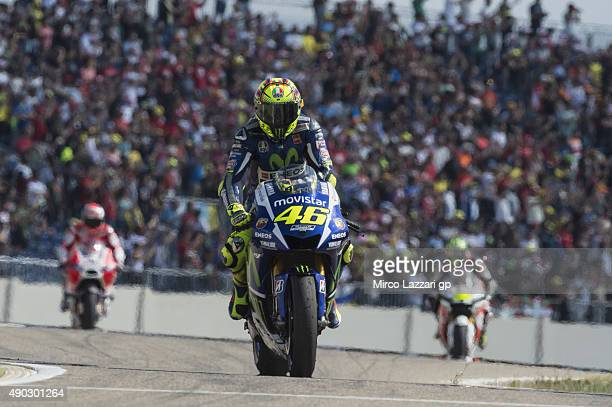 Valentino Rossi of Italy and Movistar Yamaha MotoGP celebrates the third place at the end of the MotoGP race during the MotoGP of Spain Race at...