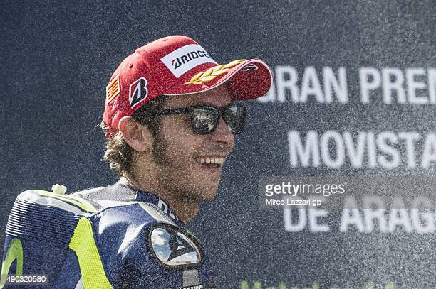 Valentino Rossi of Italy and Movistar Yamaha MotoGP celebrates the third place on the podium at the end of the MotoGP race during the MotoGP of Spain...