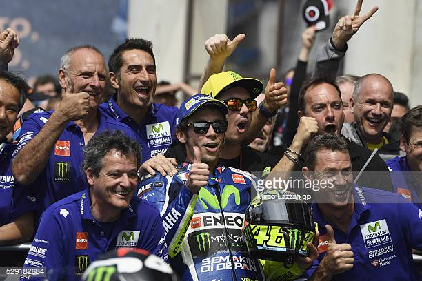 Valentino Rossi of Italy and Movistar Yamaha MotoGP celebrates the second place with team at the end of the MotoGP race during the MotoGp of France...