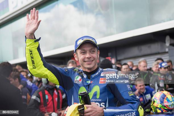 Valentino Rossi of Italy and Movistar Yamaha MotoGP celebrates the second place under the podium at the end of the MotoGP race during the 2017 MotoGP...