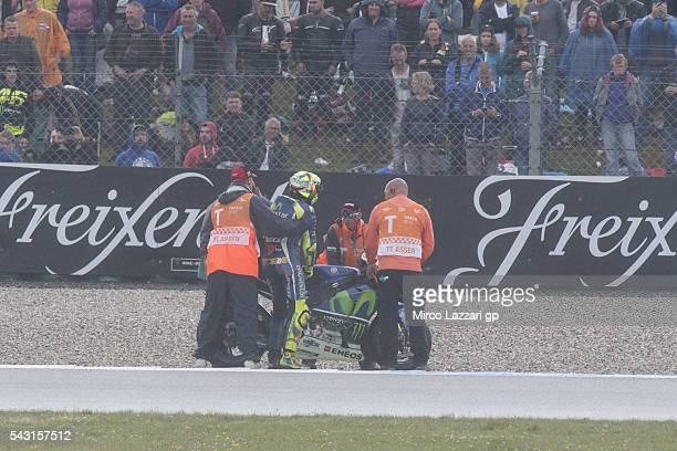 Valentino Rossi of Italy and Movistar Yamaha MotoGP crashed out during the MotoGP race during the MotoGP Netherlands Race at on June 26 2016 in Assen...