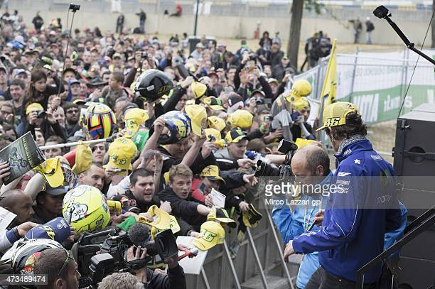 Valentino Rossi of Italy and Movistar Yamaha MotoGP greets the fans during the 'QA in front of fans' at the MotoGp of France Free Practice at on May...