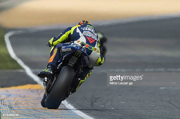 Valentino Rossi of Italy and Movistar Yamaha MotoGP heads down a straight during the MotoGp of France Free Practice at on May 15 2015 in Le Mans...